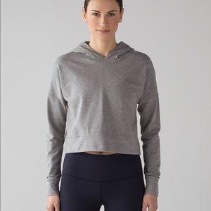 Crop top hoodie, sz 6, heathered navy